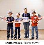 patriotic children holding...   Shutterstock . vector #18495094