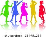 group of children silhouettes  | Shutterstock .eps vector #184951289