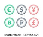euro dollar yen yuan bitcoin...   Shutterstock .eps vector #184956464