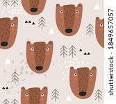 seamless pattern  bears  fir... | Shutterstock .eps vector #1849657057