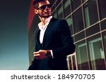 elegant young handsome business ... | Shutterstock . vector #184970705