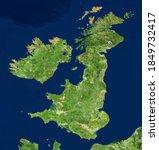 Uk Map In Satellite Photo ...