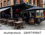 Old Street With Tables Of Cafe...