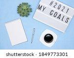 blank notebook  pen  coffee cup ...   Shutterstock . vector #1849773301