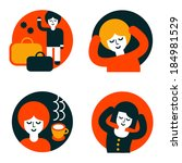 raster illustrations. set of... | Shutterstock . vector #184981529