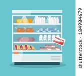 Supermarket thermocool refrigerator shelves food collection with milk fish meat cheese chicken sausage cake flat vector illustration