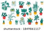 house plants. cartoon tropical... | Shutterstock .eps vector #1849861117