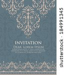 invitation or wedding card with ... | Shutterstock .eps vector #184991345