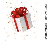 gift box with a red bow  gold...   Shutterstock .eps vector #1849918351