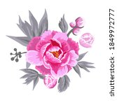 abstraction with pink peonies.... | Shutterstock .eps vector #1849972777