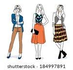 fashion girls | Shutterstock .eps vector #184997891