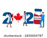 2021 year. covid 19 vaccine... | Shutterstock .eps vector #1850004787