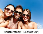 group of young friends in... | Shutterstock . vector #185005904