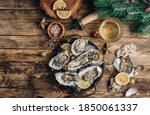 Oysters With Lemon On A Vintage ...