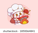 cute and kawaii female chef... | Shutterstock .eps vector #1850064841