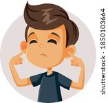 boy covering up his ears... | Shutterstock .eps vector #1850103664