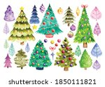 set of decorated christmas tree ... | Shutterstock .eps vector #1850111821