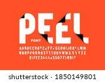 peeled style font design  peel... | Shutterstock .eps vector #1850149801