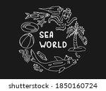 Sea World Vector Doodle. Hand...