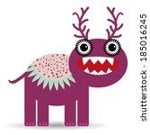 cute cartoon monster on a white ... | Shutterstock . vector #185016245