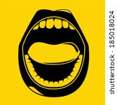 open mouth on yellow background ... | Shutterstock .eps vector #185018024