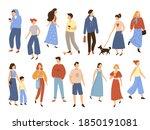 walking people. flat men and... | Shutterstock .eps vector #1850191081