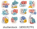 abstract contour female faces.... | Shutterstock .eps vector #1850192791