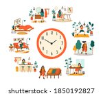 female routine. lifestyle... | Shutterstock .eps vector #1850192827