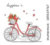 bicycle with a basket full of... | Shutterstock . vector #185019767