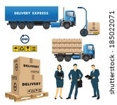 set of delivery and shipment...