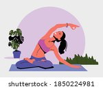 young woman sits in a yoga pose ... | Shutterstock .eps vector #1850224981