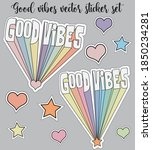 retro funny cute good vibes... | Shutterstock .eps vector #1850234281