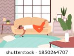 people lying on sofa. lazy...   Shutterstock .eps vector #1850264707