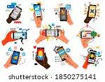 hands with smartphones doodle... | Shutterstock .eps vector #1850275141