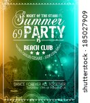 summer party flyer for music... | Shutterstock .eps vector #185027909