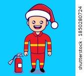 vector image of fireman with...   Shutterstock .eps vector #1850280724