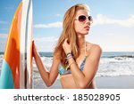 surfing beautiful woman  on the ... | Shutterstock . vector #185028905