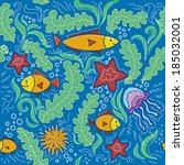 sea pattern | Shutterstock .eps vector #185032001