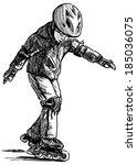 boy on roller skates | Shutterstock . vector #185036075