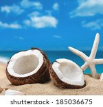 chopped coconut on sea beach... | Shutterstock . vector #185036675