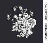 vintage monochrome floral... | Shutterstock . vector #1850366797