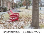 Two Red Wooden Adirondack...