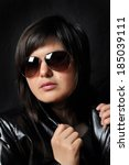 beautiful brunette with glasses ...   Shutterstock . vector #185039111