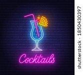 cocktail blue hawaiian neon... | Shutterstock .eps vector #1850430397