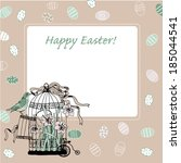 happy easter card with birdcage | Shutterstock .eps vector #185044541
