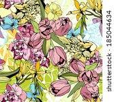 bright spring flowers  seamless ... | Shutterstock .eps vector #185044634