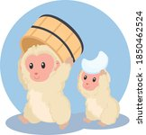 Two Monkeys With Wooden Basin...