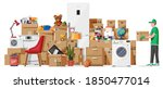 moving to new house. family... | Shutterstock .eps vector #1850477014