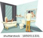 cartoon couple in the bathroom... | Shutterstock .eps vector #1850511331