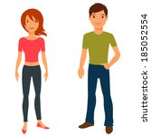 cute stylish young boy and girl ... | Shutterstock .eps vector #185052554